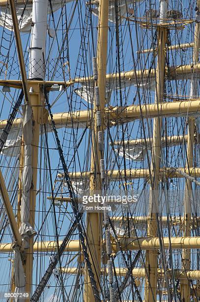 Germany, Hamburg, Harbour, View of the masts of a sailing ship