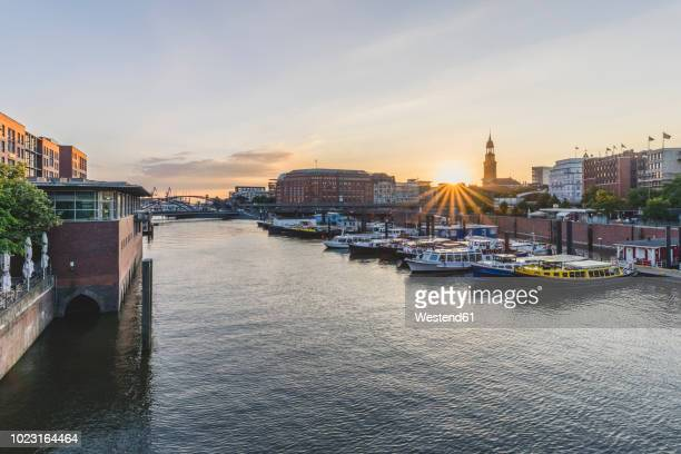 germany, hamburg, inland harbour with st. michaelis church in background - elbe river stock photos and pictures