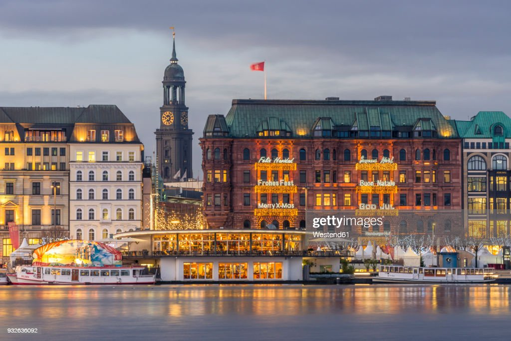 Germany, Hamburg, Jungfernstieg and St. Michaelis Church at Christmas time : Stock Photo