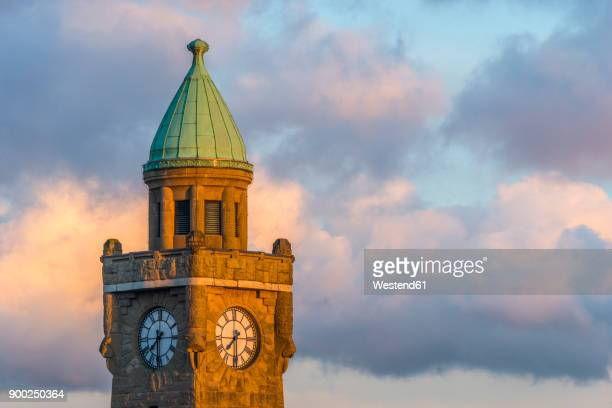 germany, hamburg, landing stages, gauge tower - clock tower stock pictures, royalty-free photos & images