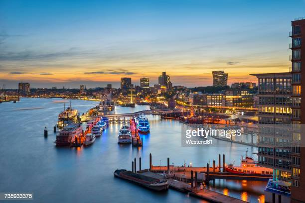 Germany, Hamburg, Niederhafen at sunset seen from Elbe Philharmonic Hall