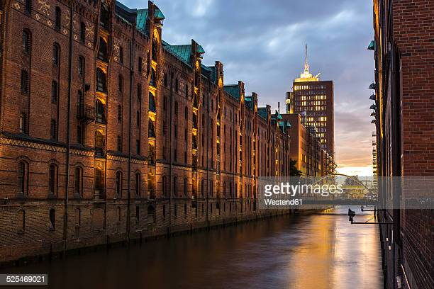 Germany, Hamburg, Old warehouse district, Sunset