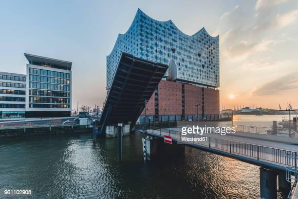 germany, hamburg, opened bridge am kaiserkai, elbe philharmonic hall at sunset - elbphilharmonie stock pictures, royalty-free photos & images