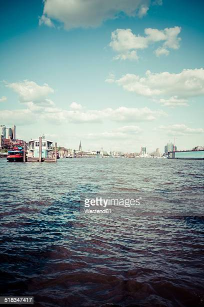 Germany, Hamburg, Port of Hamburg, Elbe river and city view