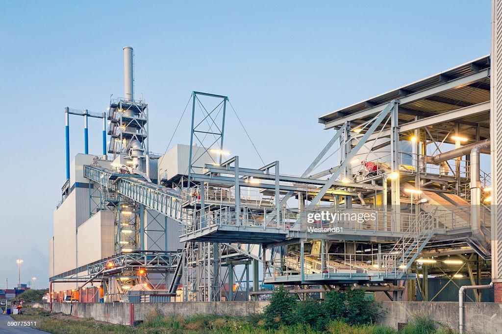 Germany, Hamburg, sludge incineration plant at harbour district : Stock Photo