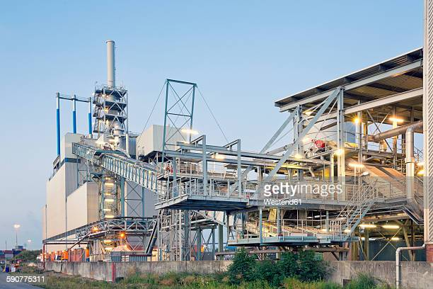 germany, hamburg, sludge incineration plant at harbour district - incinerator stock photos and pictures