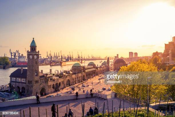 germany, hamburg, st pauli landing stages at twilight - hamburg germany stock pictures, royalty-free photos & images