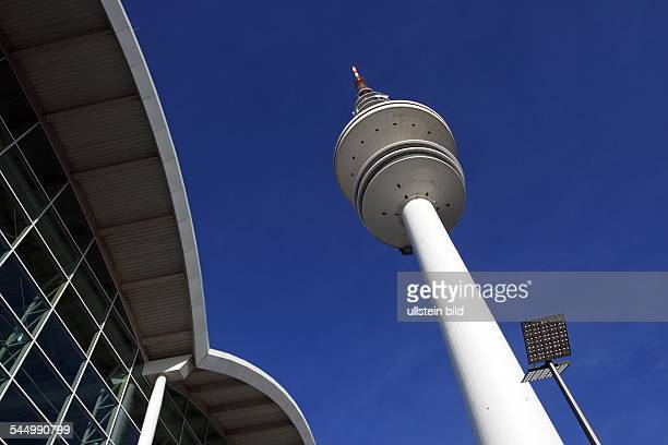 Television Tower HeinrichHertzTurm in the foreground a part of the exhibition halls