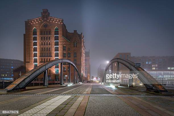 Germany, Hamburg, The Maritime Museum in the Hafencity at night
