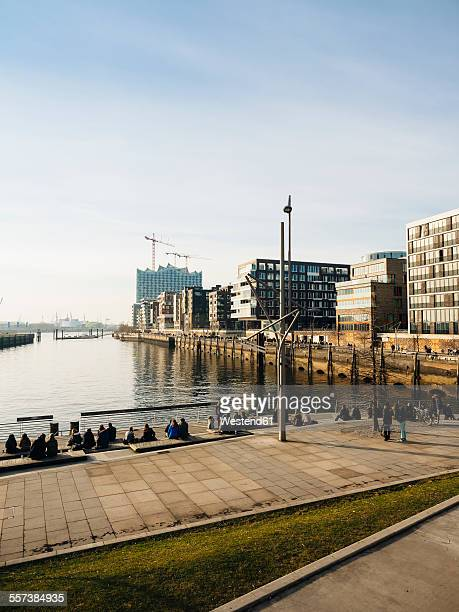 Germany, Hamburg, view from Marco Polo Terraces to Hafencity with Elbphilharmonie