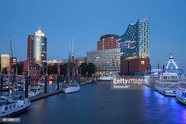 Germany, Hamburg, view to Columbus House, Kehrwiederspitze and Elbphilharmonie at Hafencity