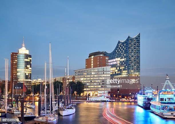 Germany, Hamburg, view to Elbe Philharmonic Hall at twilight