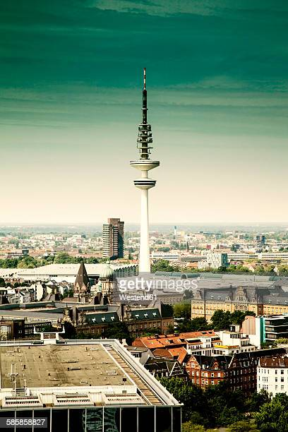 germany, hamburg, view to the city with heinrich-hertz tower from st michaelis church - hertz stock pictures, royalty-free photos & images