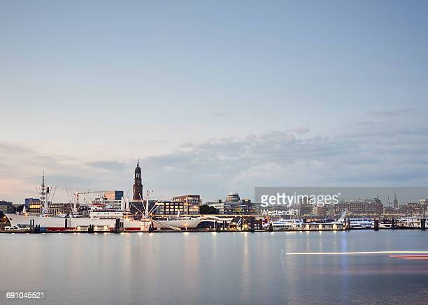 Germany, Hamburg, view to the city with Landing Stages and St. Michaelis Church in the background