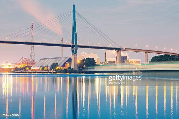 germany, hamburg, waste incineration plant at harbour district - köhlbrandbrücke stock photos and pictures