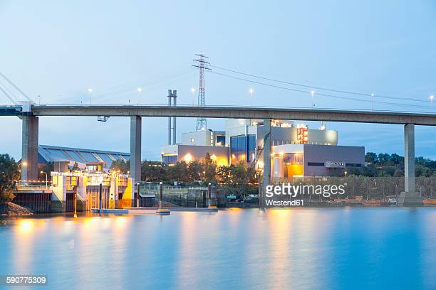 germany, hamburg, waste incineration plant at harbour district - incinerator stock photos and pictures