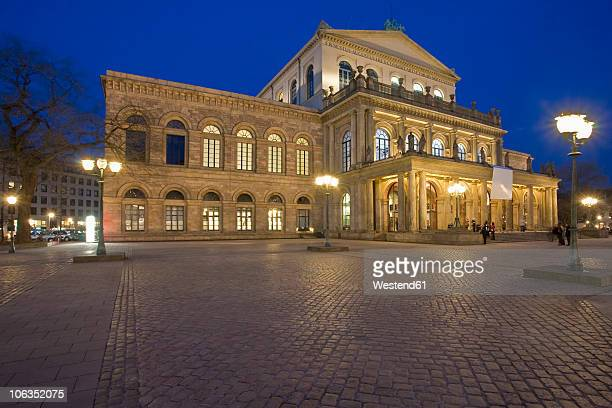 germany, hannover, view of illuminated opera house at night - hanover germany stock pictures, royalty-free photos & images
