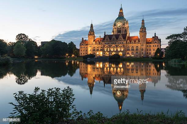 Germany, Hannover, view to lighted new city hall