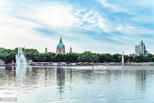 germany, hanover, new town hall and maschsee lake, masch-festival - hanover germany stock pictures, royalty-free photos & images