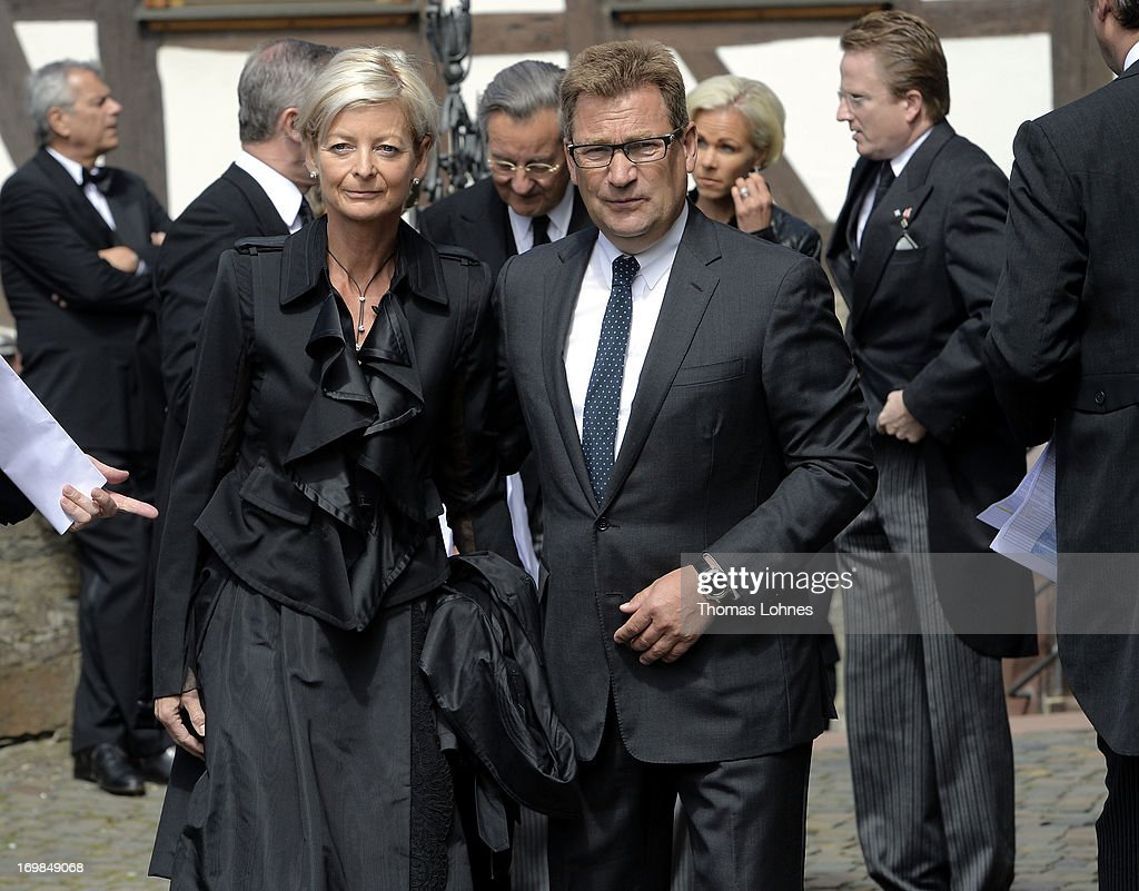 Germany head Ann Kathrin Linsenhoff and her husband Klaus-Martin Rath attend the funeral service for Moritz Landgrave of Hesse at Johanniskirche on June 3, 2013 in Kronberg, Germany. Moritz of Hesse died aged 86 years on May 23 in Frankfurt. A great-grandson of the Emperor Frederick III and great-grandson of Queen Victoria, he was related to many European royal families.