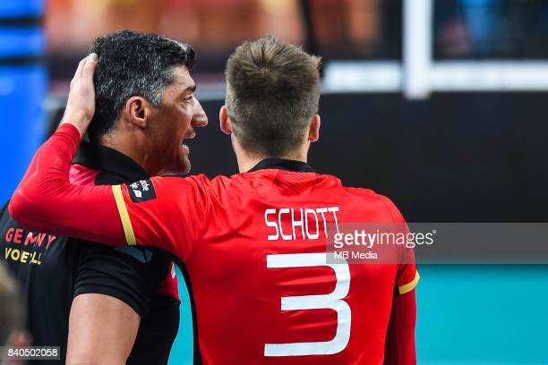 Germany head coach Andrea Giani and Ruben Schott of Germany during the European Men's Volleyball Championships 2017 match between Czech Republic and...