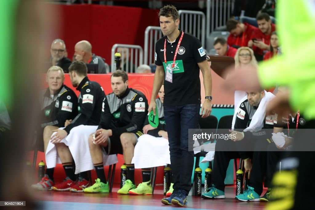Germany head coach Christian Prokop gestures during the preliminary round group C match of the Men's 2018 EHF European Handball Championship between Germany and Montenegro in Zagreb on January 13, 2018. /