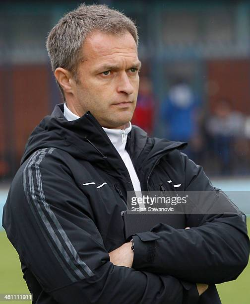 Germany head coach Christian Wuck looks on prior the UEFA Under17 Elite Round between Germany and Ireland at Stadion FC Obilic on March 28 2014 in...