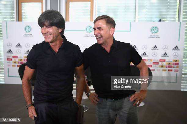Germany head coach Joachim Loew and U21 head coach Stefan Kuntz pose after announcing the German squads for the FIFA Confedereations Cup Russia 2017...