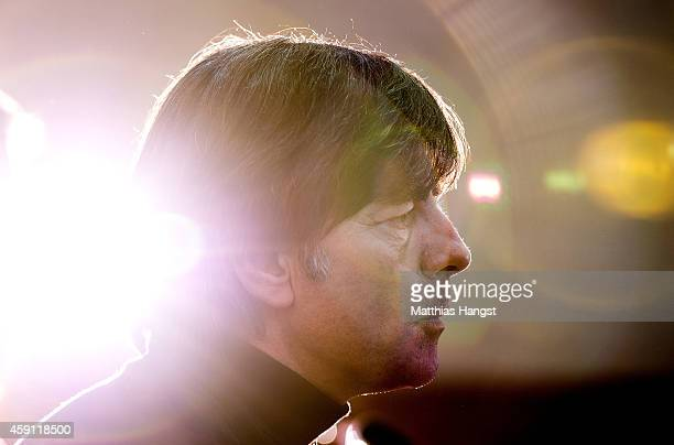Germany head coach Joachim Loew faces the media during a press conference at the Hotel Ciudad de Vigo ahead of their International Friendly with...