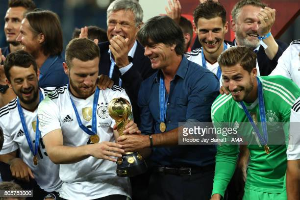 Germany Head Coach / Manager Joachim Low celebrates with his players and the trophy at the end of the FIFA Confederations Cup Russia 2017 Final match...