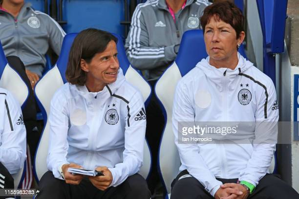 Germany head coach Maren Meinert during the U19 UEFA Women's Under19 European Championship game at McDiarmid Park on July 16 2019 in Perth Scotland