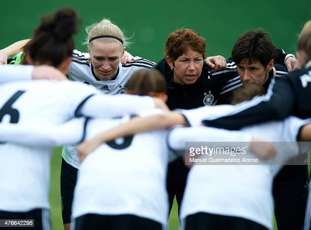 Germany head coach Maren Meinert gives instructions to her players prior to the U23 friendly match between Norway and Germany at la Manga Club on...