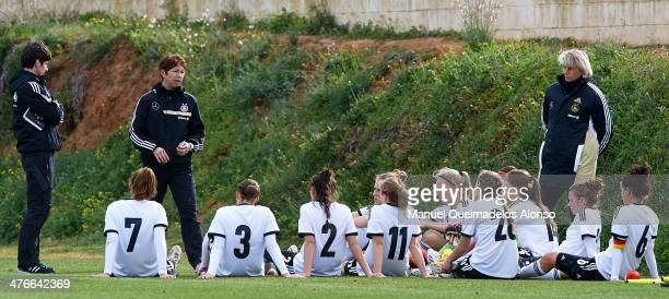 Germany head coach Maren Meinert gives instructions to her players during the U23 friendly match between Norway and Germany at la Manga Club on March...