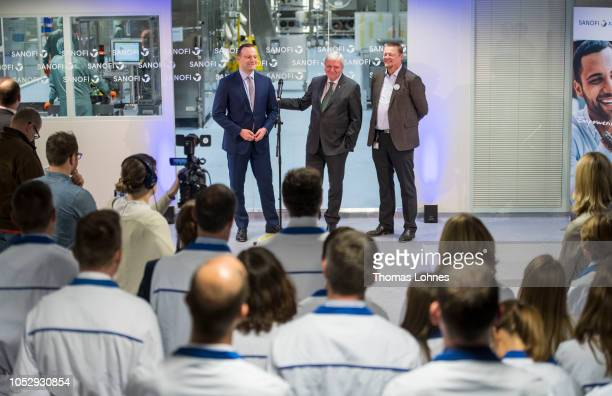 Germany Health Minister Jens Spahn Prime Minister Volker Bouffier and 'Sanofi Deutschland' CEO Clemens Kaiser speak to the media and staff on October...