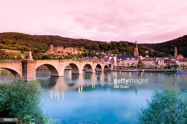 Germany, Heidelberg, city view with old bridge and castle