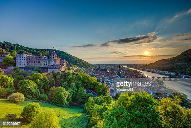 Germany, Heidelberg, Heidelberg Castle and Neckar River