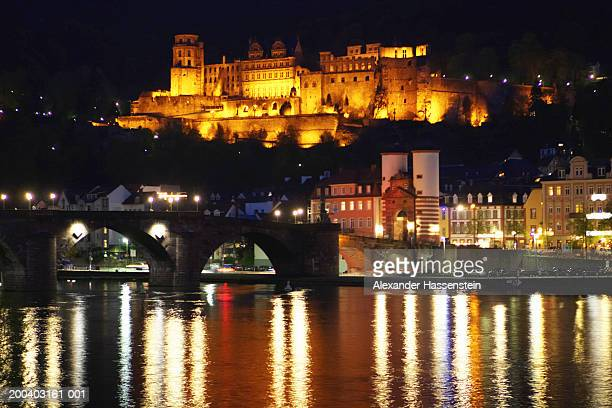 Germany, Heidelberg, Karl Theodor Bridge and Heidelberg Castle, night