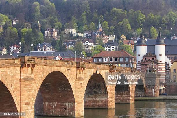 Germany, Heidelberg, Karl Theodor Bridge and  Neckar River