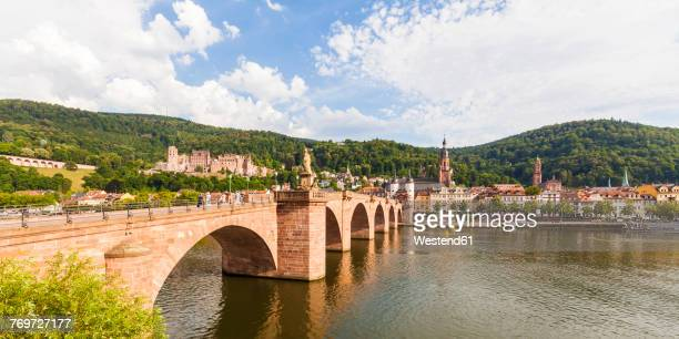Germany, Heidelberg, view to the old town with old bridge in the foreground