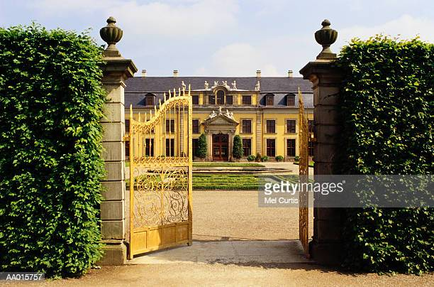 germany, herrenhausen castle, open gate - hanover germany stock pictures, royalty-free photos & images