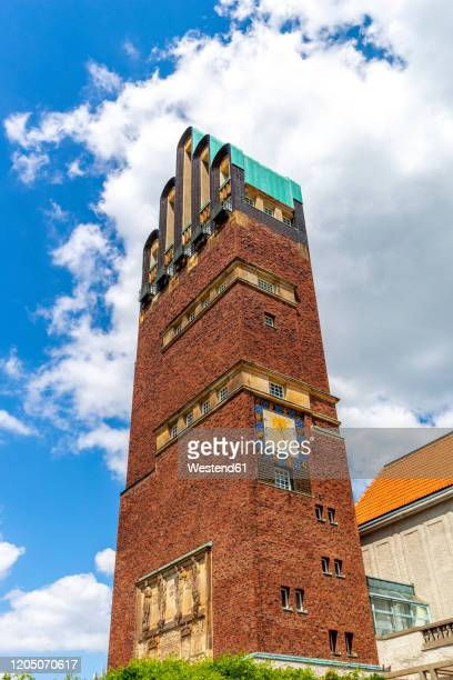 germany, hesse, darmstadt, darmstadt artists colony, low angle view of wedding tower - darmstadt stock-fotos und bilder