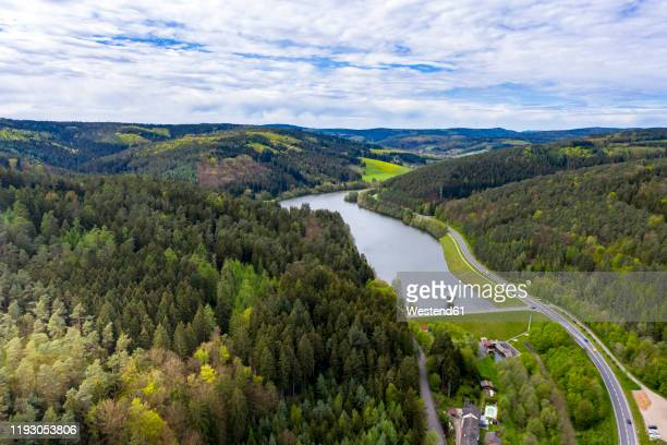 germany, hesse, erbach, scenic view of marbach reservoir in himbachel valley - stausee stock-fotos und bilder