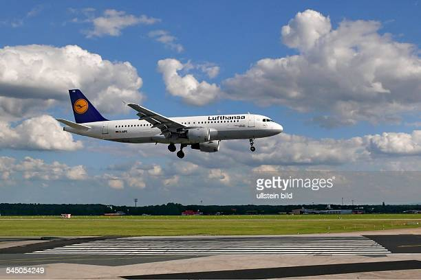 Germany Hesse Frankfurt airport Landing of an airplane Airbus A320200 of the airline Lufthansa