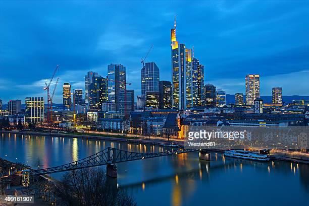 Germany, Hesse, Frankfurt am Main, Skyline in the evening