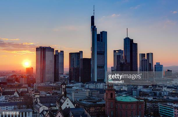 Germany, Hesse, Frankfurt, City view with financal district in the evening