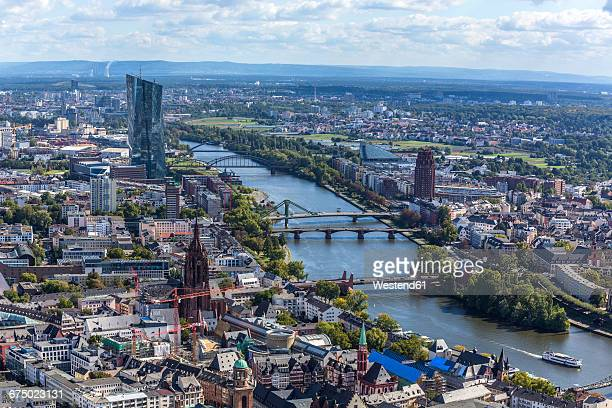 Germany, Hesse, Frankfurt, Cityscape with European Central Bank, Main river