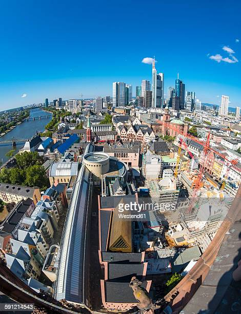 Germany, Hesse, Frankfurt, Cityview, Financial district, wide angle view