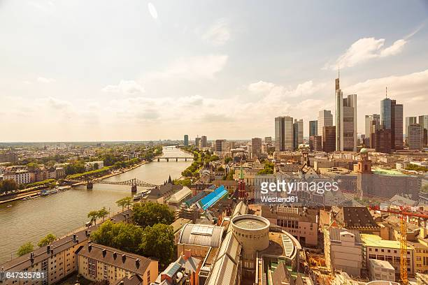 Germany, Hesse, Frankfurt, cityview with financial district, Main river