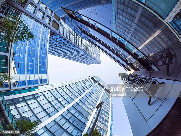 Germany, Hesse, Frankfurt, Commerzbank and Hessische Landesbank, low angle view