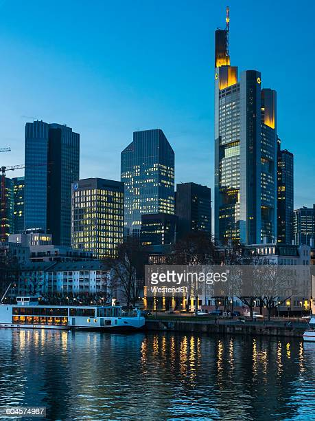 Germany, Hesse, Frankfurt, Financial district in the evening, Main river